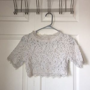 Small: LUXXEL Laced Short Sleeve Crop Top